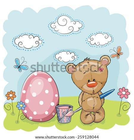 Cute Teddy Bear paint eggs on the meadow