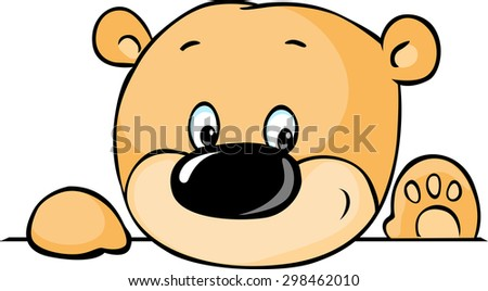 cute teddy bear peeking out from behind white surface - vector