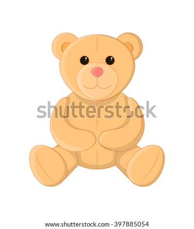 Cute teddy bear, soft toy, vector illustration - stock vector