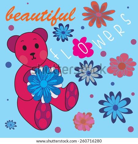 cute teddy bear with flowers vector illustration - stock vector