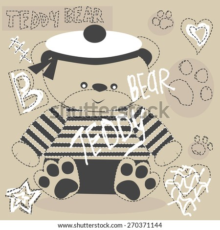 cute teddy bear with paw vector coffee color - stock vector
