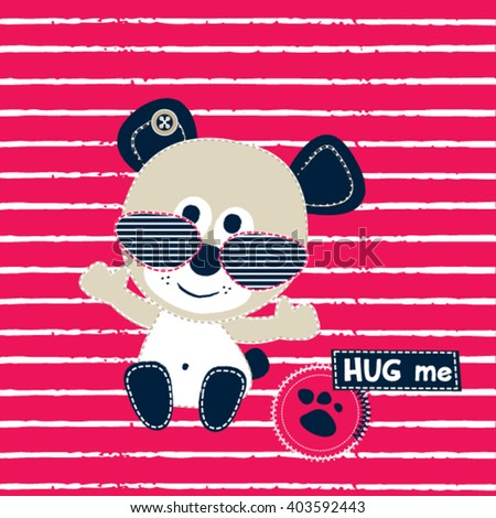 cute teddy bear with sunglasses on striped background vector illustration