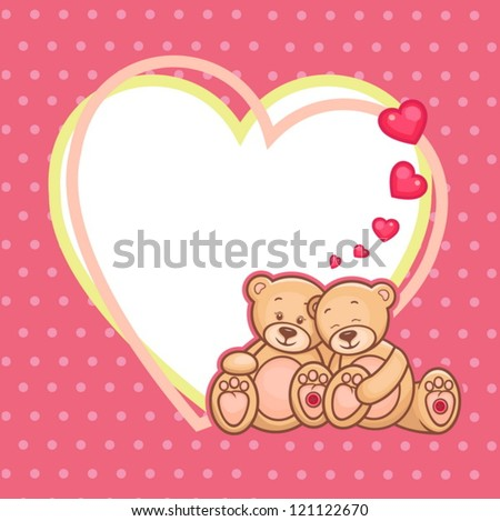 Cute Teddy bears and big heart, vector illustration - stock vector