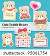 cute teddy bears collection - stock vector