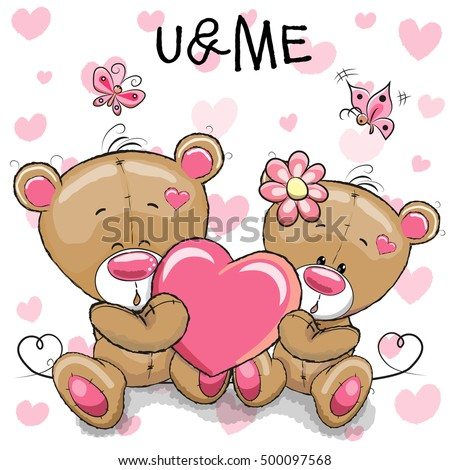 Cute Teddy Bears with heart on a heart background
