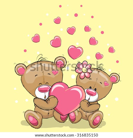 Cute Teddy Bears with heart on a yellow background - stock vector