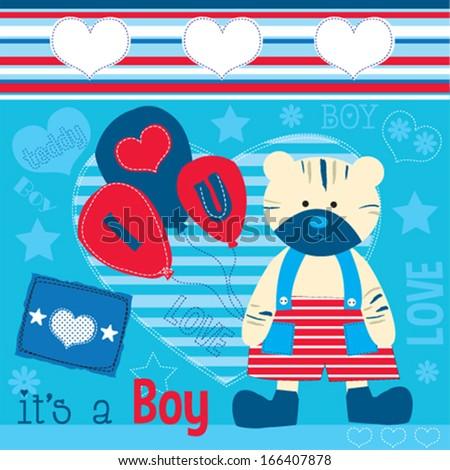 cute teddy boy invitation vector illustration - stock vector