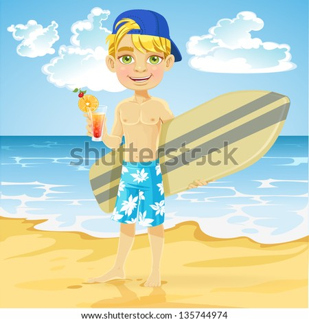 Cute teen boy with a drink in a glass and a surfboard on a sunny beach - stock vector