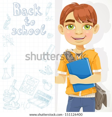 Cute teenage boy holding a banner - stock vector