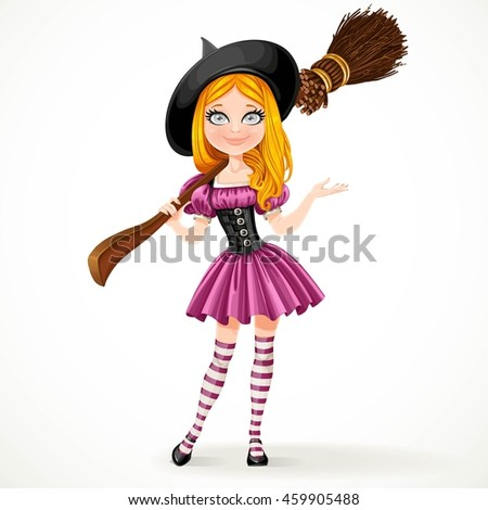 Cute teenage red haired witch in purple dress with a broom on her shoulder isolated on white background