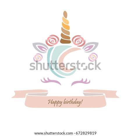 Cute template unicorn cake vector illustration stock vector royalty cute template with unicorn cake vector illustration it can be used for invitation stopboris Gallery