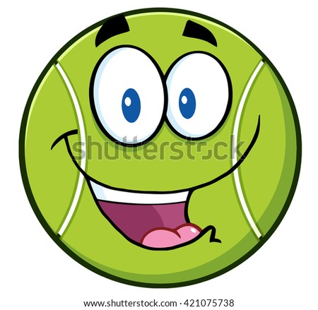 Cute Tennis Ball Cartoon Character. Vector Illustration Isolated On White - stock vector