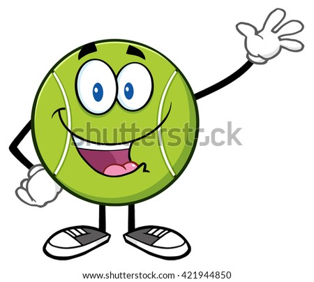 Cute Tennis Ball Cartoon Character Waving. Vector Illustration Isolated On White - stock vector