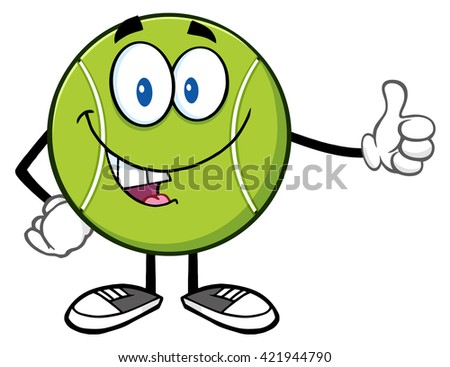 Cute Tennis Ball Cartoon Mascot Character Giving A Thumb Up. Vector Illustration Isolated On White - stock vector