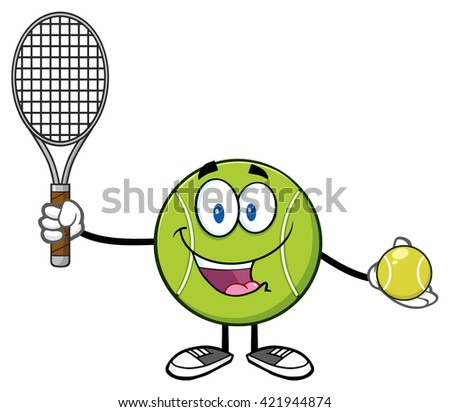 Cute Tennis Ball Player Cartoon Character Holding A Tennis Ball And Racket. Vector Illustration Isolated On White - stock vector
