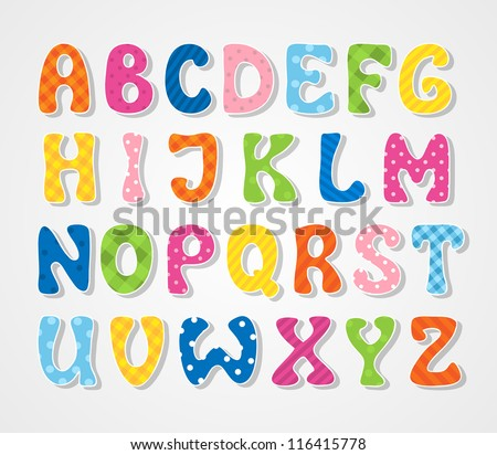 Cute textured sticker alphabet, vector illustration - stock vector