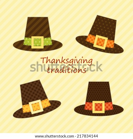 Cute Thanksgiving Pilgrim hats as retro fabric applique for your decoration - stock vector