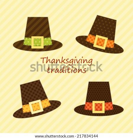 Cute Thanksgiving Pilgrim hats as retro fabric applique for your decoration - stock vector