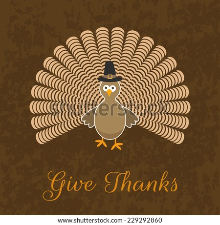Cute Thanksgiving Turkey Cartoon Design - stock vector