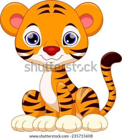 Cute tiger cartoon - stock vector
