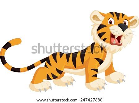 Cute tiger cartoon roaring - stock vector
