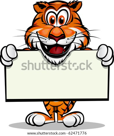 Cute Tiger holding up sign.Separated into layers for easy editing./Cute Tiger holding sign - stock vector