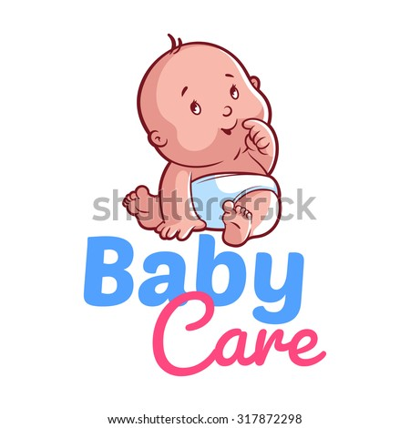Cute toddler in diaper. Vector illustration on a white background. Baby care logo - stock vector