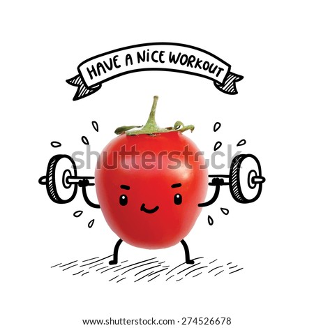 Cute tomato lifts heavy weight using barbell. Funny bodybuilder illustration. Healthy lifestyle and sport image - stock vector