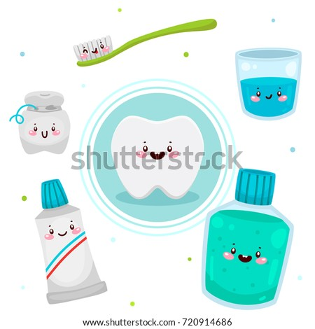 Cute Tooth And Tools For Oral Dental Hygiene Informational Poster Children Vector