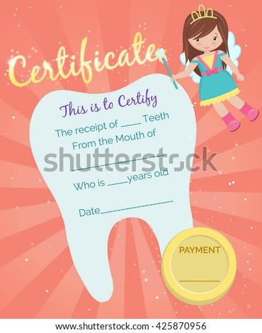 Cute tooth fairy receipt certificate template stock photo photo cute tooth fairy receipt certificate template with sparkling tooth tooth fairy girl and coin spiritdancerdesigns Images