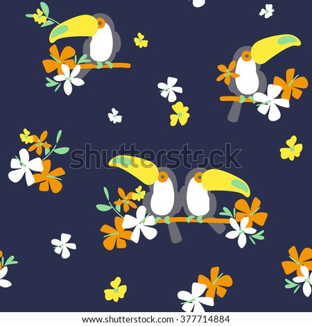 Cute toucans and tropical seamless floral background patterns - stock vector