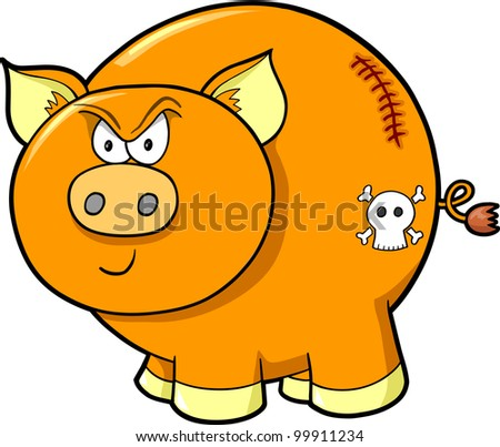 Cute Tough Farm Pig Vector Illustration Art - stock vector