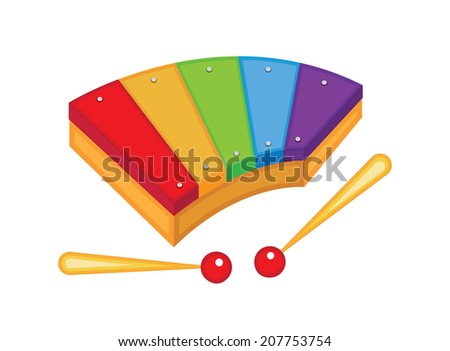 cute toy xylophone (vector illustration) - stock vector