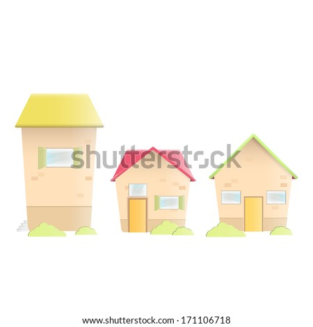 Cute traditional houses over white background. Vector design