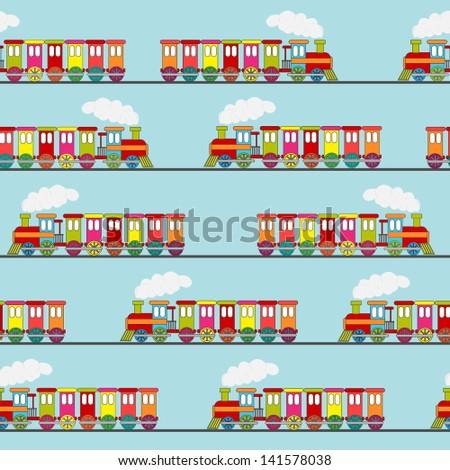 cute train seamless - stock vector