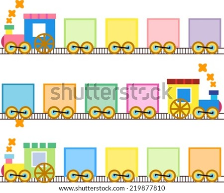 Cute trains - stock vector