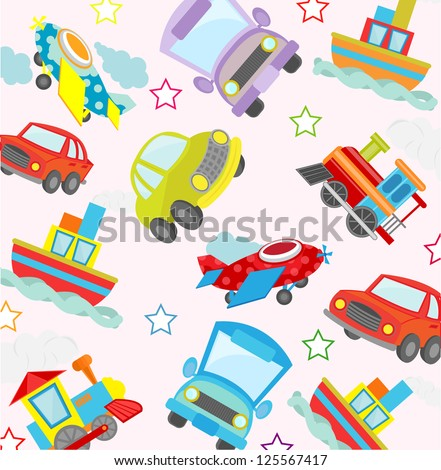 cute transport seamless pattern