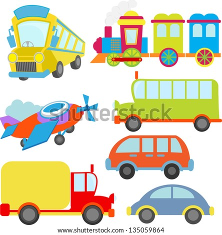 cute transportation vehicle train and aeroplane - stock vector