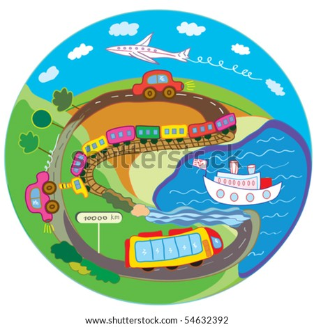 Cute travel concept with transport means - stock vector