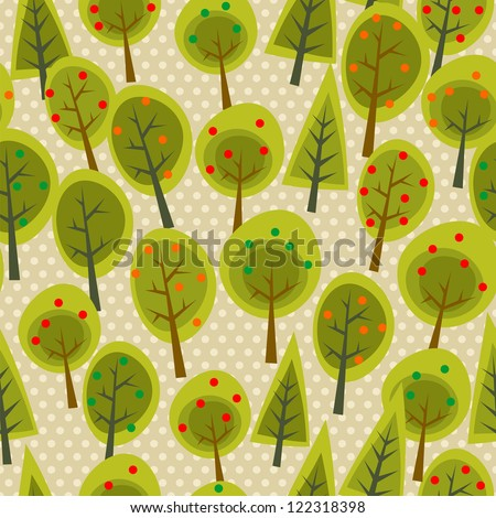 Cute tree forest seamless pattern background. Vector illustration layered for easy manipulation and custom coloring. - stock vector