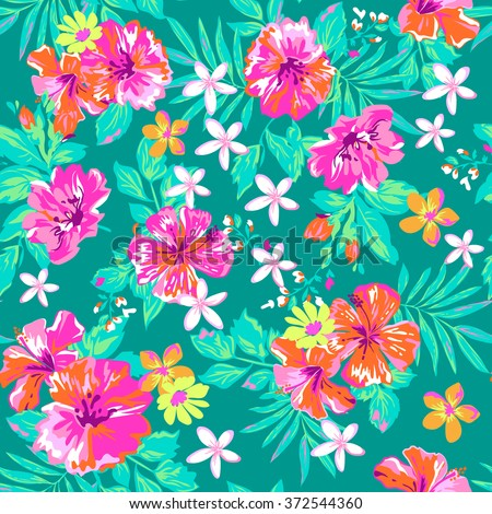 cute tropical print ~ seamless background - stock vector