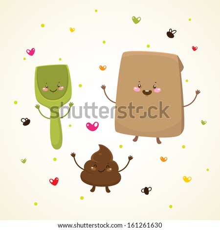 Cute turd and paper packet, shovel - stock vector