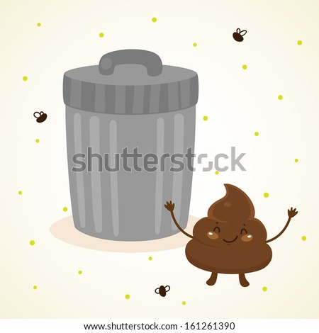 Cute turd and trash - stock vector