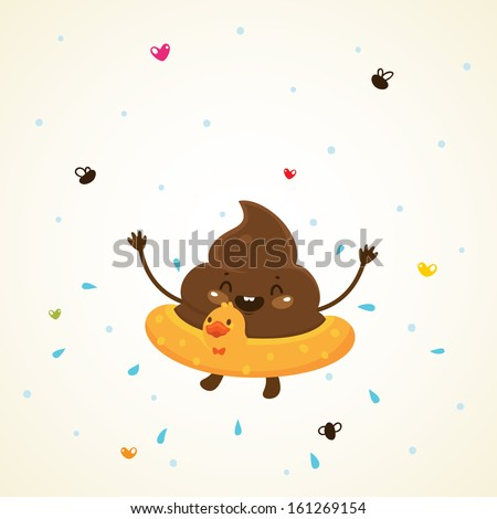 Cute turd and water - stock vector