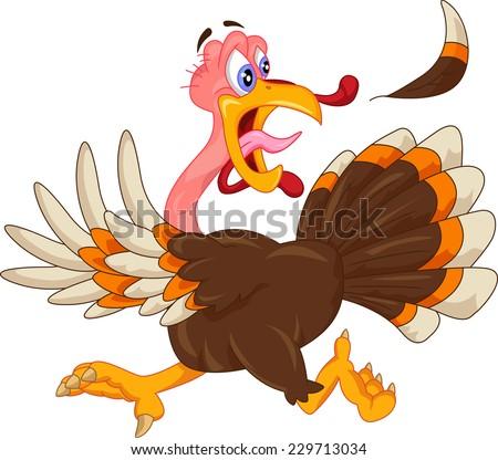 cute turkey cartoon - stock vector