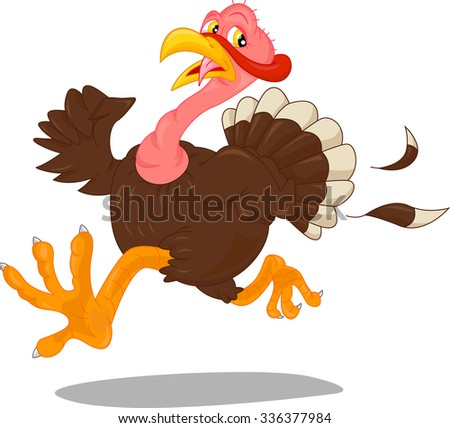 cute turkey cartoon - stock vector