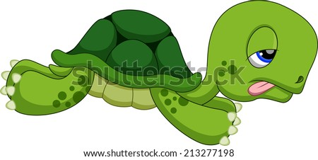 Cute turtle cartoon running - stock vector