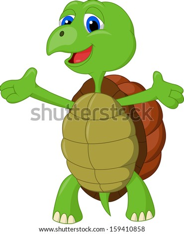 Cute turtle presenting - stock vector