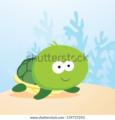 Cute turtle. Vector illustration of a turtle smiling.