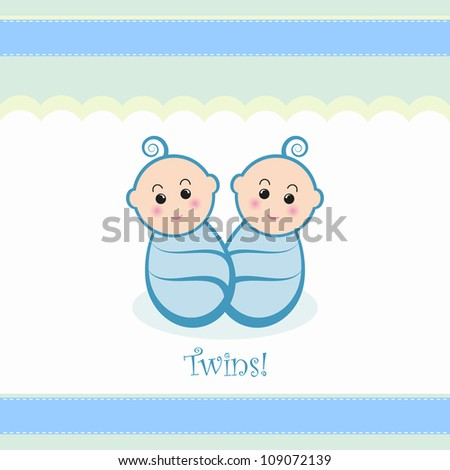 Cute twin baby boys design.